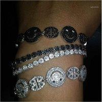 Screading Bling Jewelly Crong Установка крошечного кубического циркония CZ Zircon Crystal Happy Face Teen Girl Регулируемые браслеты для женщин1