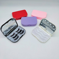 LED 3 пары 3D норковая ресница пластиковые пакет коробки ложные ресницы упаковывают пустые чехол ресниц с держателем зеркала макияж инструмент