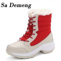 Sa Demeng Mulheres Botas sapatos impermeáveis feminina inverno neve Botas Plataforma Mujer Botas Ankle Inverno Bota Com Grosso Fur menina Bota