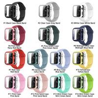 유리 + 케이스 + I 시계 시리즈 6 5 4, 패키지 프로모션 PC 케이스 + 사과 시계 용 실리콘 시계 밴드 스트랩