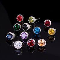 Choucong Top Продают Простая мода Ювелирные Изделия 8 мм Круглый Вырезать Multi Gemstones Sapphire CZ Алмазные Женщины Свадебная Корона Серьги Серьги Подарок никогда не исчезают