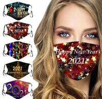 Envío rápido Navidad Cara Mascarilla Decoraciones de Navidad Dibujos animados 2021 Año Nuevo Máscaras Niño Adulto Algodón Reutilizable Máscara Lavable