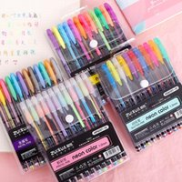 36/48 Cores canetas Gel Pen Set Colored Glitter Art Penas de marcador metálicas para presentes Adulto Coloring Books Doodling DIY papelaria