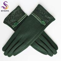 [Bysifa] Kaschmir Wolle Frauen Handschuhe Winter Dicke Damen Spitze Gestickte Wollhandschuhe Grau und Grün Eleft Mitte1