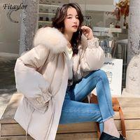 Fitaylor 2020 novo inverno mulheres para baixo casaco grande pele real capuz solto para baixo parkas lace up grande bolso grosso quente neve jaqueta outwear1