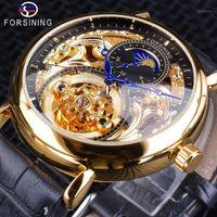 Forsinining Golden Skeleton Reloj Mascule Moon Fase de Moda Manos Azules Impermeable Relojes Automáticos Top1