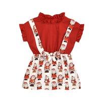 Neugeborenes Baby-Kleidung Weihnachten Outfits Red Shirt Weihnachten Druck Spitze Rüschenkleid Bogen Stirnband 2Stk Sets