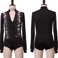Sparkly Strass Dance Latin Dance Tops Camicie Uomini V-Neck Dance Camicia Ballroom Latino Dancing Abbigliamento Abbigliamento maschio Competizione Costume1
