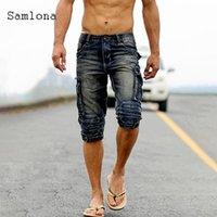 Samlona Hommes Demin Shorts Summer Nouveau Sexy Jean Skinny Shorts Mâle Style Punk Style Zipper Multi-poche Pantalon court Mens Vêtements