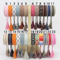 Neue Baumwolle gewebte Brief Stickerei Tassel Armreif Lace-up Armband Verstellbare Festival Armbänder Schmuck Geschenk Party Schönheit