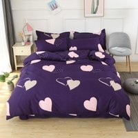 58 Home Textile Heart Purple Double Couvre-lit Chaîne Taie d'oreiller Girl Goy Adulte Boy Literie Ensemble King Queen Full Litlinen1