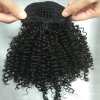 Clip d'extension de queue de queue de cheval de poils humains africaine à cheveux naturels Afro Puffs Cuisson de cordon de cuillère Afro Curly Wig PonyPetail Extensions de cheveux