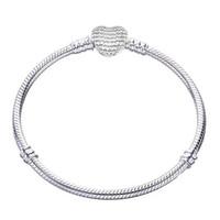 الأصلي 100٪ 925 فضة سوار الإسورة سحر القلب ثعبان سلسلة الأساور الأساسية عموم النساء diy ماركة مجوهرات B199