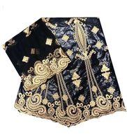 Bazin Afrique noire tissu avec 2yards dentelle riche français africaine dentelle bazin avec des perles BAZIN tissu brocard pour robe de soirée