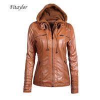Fitaylor Yeni Kadın Sonbahar Kış Kapüşonlu Faux Ceket Ince Motosiklet Şapka Ayrılabilir Artı Boyutu 5XL PU Deri Ceket Y201012