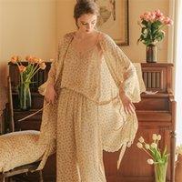 أزياء ليوبارد منامة منامة منامة النساء منامة النساء 3 قطعة مجموعة ملابس خاصة روب Y200708