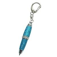 Acmecn 1 قطعة مصغرة بلينغ بريق الكرة القلم متعدد الألوان بو الجلود الكرة نقطة القلم الحلقة الوسطى مع كريستال جيب قصيرة أقلام حلقة رئيسية 2011 1111