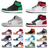 nike air jordan retro 1 jordans jumpman 1s Chegada Nova tênis de basquete Tribunal Womens Mens roxo alta Obsidian Mid Chicago Luz Smoke Grey Sneakers Trainers tamanho US 12