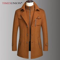 TIMESUNION Winter-Wollmischung Mantel-Männer der neuen Männer Business Casual Lange Wollmantel-Qualitäts-Fest Mantel Männlich 4XL