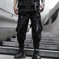 iidossan homens calças de carga moda preto harem calças corredores homens multi-bolsos fitas de calça de moletom cuecas casuais 201109