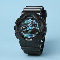 Горячий продавать отдых Спорт Мужские светодиодные цифровые часы Автоматическая рука Raise лампы GA100 Водонепроницаемый и противоударный World Time замороженный из ва