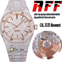 2021 Top Quality 41mm RFF Gypsophila Pavé Diamond Version 15400 Arabe Dial Cal.3120 Automatique Mens Montre 15202 Designer Montres Sapphire
