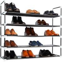 Waco Entryway Koridor ayakkabı rafı depolama organize, 4-tier 12 pairs ücretsiz ayakta dokunmamış kumaş dolaba, metal çerçeve rafları tutucular raflar, siyah
