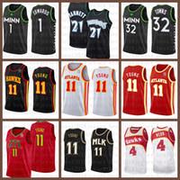 2021 novo jersey de basquete minnesotaTimberwolves.Atlanta.Hawk Mens 21 Garnett 1 Edwards 32 Cidades 11 Jovens 4 Webb Brown