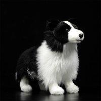 Hot Original Border Collie Dog Mini Hund Kinder ausgestopfte Plüschtiere Schwarzes Nettes reizendes Kind Geschenk lebensechte Tierpuspodles Modell 201222