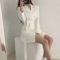 Zarif Uzun Blazers Kadınlar Ofisi Ceket 2020 Günlük Katı Renk Dantel Yukarı Blazer Ceket Sonbahar Çentikli Yaka Dış Giyim Blazer Femme