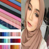Mujeres Plain Bubble Bufanda de gasa Hijab Wrap Solid Color Shaws Haveband Muslim Hijabs Bufandas / Bufanda 78 Colores DB344