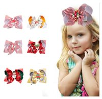 Children Hair Accessories Christmas baby girls hair clips bow hairpins X-mas gift striped dots snow flowers print kids barrette