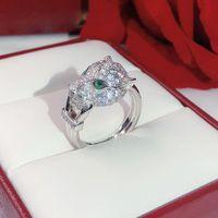Explosive Geld Tier Leopard Ring Neutrale Persönlichkeit Ring Twinkle Überlegene Qualität Promi Liebe Ringe Augen Eingelegt mit grünem Kristall