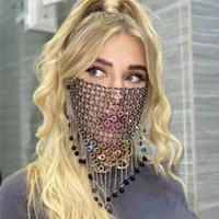 Grid Tejido Rhinestone Face Mask Adulto Bling Cristal Barlezas Boca Mascaras Mascherine Reutilizable Fashion Bardian Nueva Llegada 15sk G2
