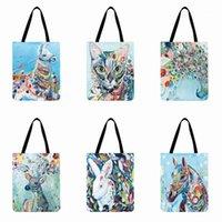 Красочные акварельные живописи животных живопись напечатанные сумка сумка повседневные сумки складные покупки сумка белье ткань открытый пляж1