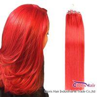 건강한 팁 #RED 루프 마이크로 링 레미 인간의 머리카락 확장 50g / 100 가닥 실리콘 마이크로 링크 비즈 스트레이트 브라질 자연 머리카락