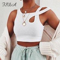 Fsda o pescoço branco colheita as mulheres sexy verão 2020 mangas básicas camiseta fora ombro cami casual streetwear tanque de algodão