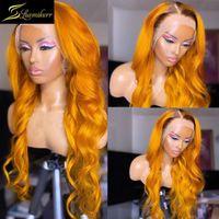 Ombre Ingwer Yellow HD Transparent Glueless Body Wave 13x6 Spitze Front Menschliches Haar Perücken Vorgepuckte Perücken Für Frauen Full Schließung 30