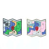 Vente chaude créative de bande dessinée carte mignonne avec des rues et des lacs alliage ligne d'avion émail Broche écusson Broche