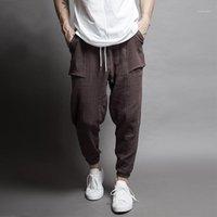 Calças dos homens a primavera e outono tipo tipo de casual casual duplo feixe de malha batendo cena calças do pé masculino grandes metros cu1