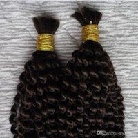 몽골 변태 곱슬 곱슬 한 벌크 머리카락 2 묶음 땋는 대량에 대한 인간의 머리카락 없음 부착 없음 200g 땋은 빗질 인간의 머리카락 대량