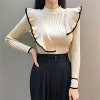Hamaliel Yeni 2 Moda Kadın Ruffles Kazaklar Güz Kış Uzun Kollu Örme Patchwork Elastik O Boyun Bayanlar Ince Kazak Y200720