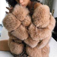 XS-4XL Plus Size Hiver femmes en fausse fourrure manteau veste fourrure mince fourrure Brochage Thicker Outwear Feminino L1713