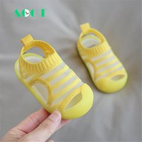 AOGT 2020 Summer Toddler Shoes Breathable Knitted Stretch Fabric Baby Sandals Baotou Soft Non-slip Jelly Color Cute Kid Sandals 1005