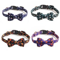 Halloween Cat Collar With Bow tie Bell Collar Pumpkin Print Collar For Pet Dog Cat Party Supplies HH9-3356