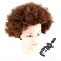 Pro Kısa Afro Kinky Kıvırcık İnsan Saç Uygulaması Manken Başkanı Model W Kelepçe