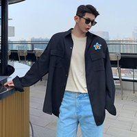 2020 Autumn New Slim Solid Color Flower Print Long Sleeve Shirt Relaxed Casual Lapel Personality Youth Men's Wear