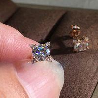 2020 Nouvelle Arrivée Mode Bijoux 925 Sterling SilverRose Gold Remplissage rond Topazz cz Diamond Girl Femmes Gouchon de mariage Boucle d'oreille 25 J2