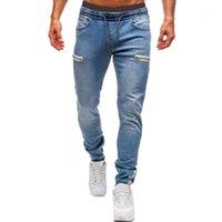 Pantalon osasculé élastique pour hommes Casual cordon de cordon d'entraînement Jogger Pantalon d'athlétisme Sweatpants 2020 Nouvelle mode Zipper1