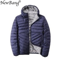 NewBang Reversible Men's Down Jacket With Hooded Puffer Ultra Light Down Jacket Men Autumn Winter Double Side Feather Parka 201126